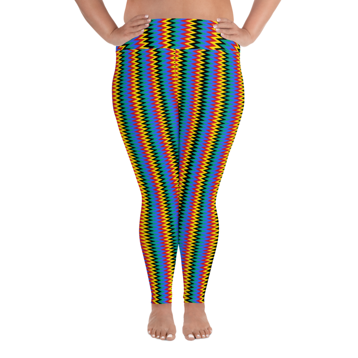 ASANTE KENTE 'ZIG-ZAG' — Hand-sewn Women's Plus-size leggings