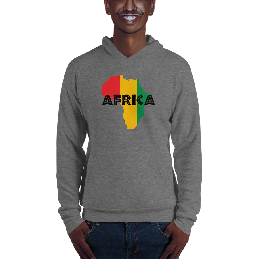 This grey hoodie from Natty Wear is made of 52% ringspun cotton and 48% polyester fleece. The front print portrays a map of Africa in the Rastafarian colors