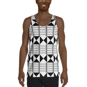 BÒGÒLANFINI 'WÓLONWULA' (WHITE/BLACK) — Hand-sewn Men's Tank Top