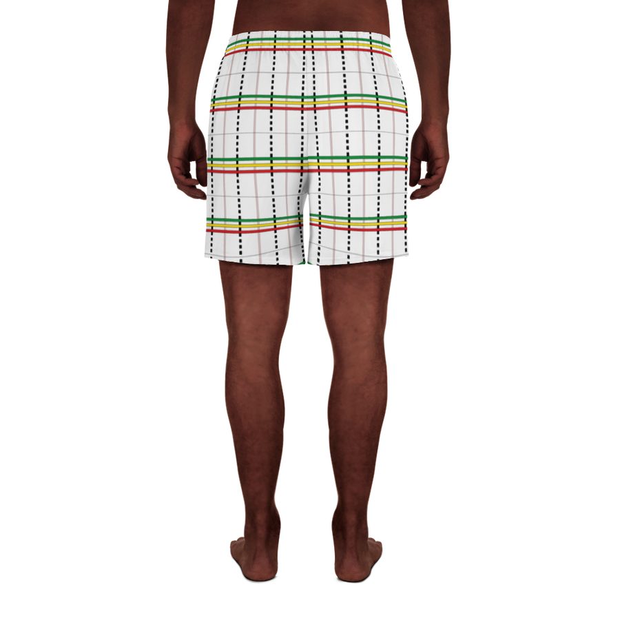 ASA-OKE (WHITE/RASTA) — Hand-sewn Men's Athletic Long Shorts