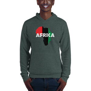 This forest green hoodie from Natty Wear is made of 60% ringspun cotton and 40% polyester fleece. The front print portrays a map of Africa in the UNIA colors (red, black, green), which are also known as the Pan-African colors, with white color used for the text of the word 'Africa' which overlays the image