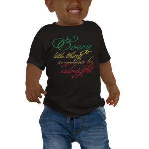 This black short-sleeved baby T-shirt from Natty Wear is made of 100% cotton. The front print portrays the text ' Every little thing is gonna be alright' written in a stylish font in the Rastafarian colors (red, gold/yellow, green), which are also known as the Pan-African colors