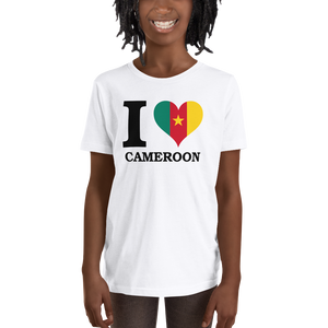 I ❤ CAMEROON (BLACK) — Short-sleeved Youth T-shirt