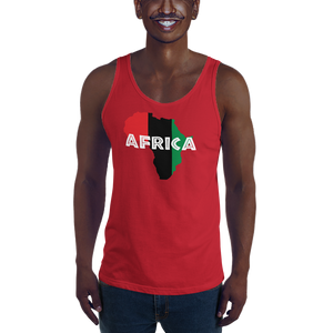 This red premium quality Tank Top from Natty Wear is made of 100% ringspun cotton. The front print portrays a map of Africa in the UNIA colors (red, black, green), which are also known as the Pan-African colors, with white color used for the text of the word 'Africa' which overlays the image