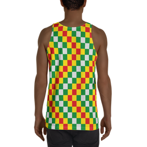 EWE KENTE 'EWO' (RASTA/WHITE) — Hand-sewn Men's Tank Top