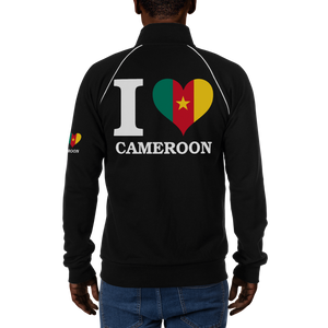 I ❤ CAMEROON (WHITE) — Men's Piped Fleece Jacket