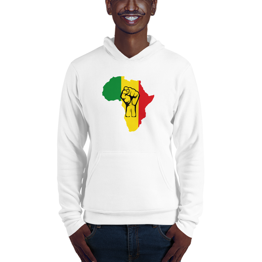 RAISED FIST 'AFRICA' (RASTA/BLACK) — Men's Pullover Hoodie