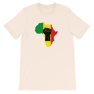 RAISED FIST 'AFRICA' (BLACK/RASTA) — Unisex Premium T-shirt