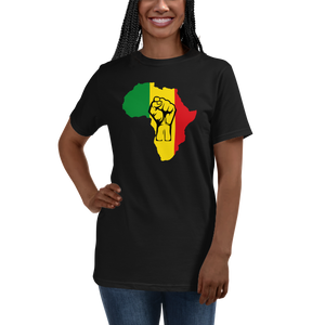 RAISED FIST 'AFRICA' (RASTA/BLACK) — Women's Organic T-shirt