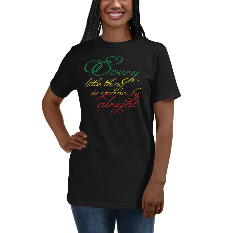 This T-shirt from Natty Wear is made of 100% organic cotton that's been grown and harvested without any synthetic fertilizers or pesticides. The front print portrays the text ' Every little thing is gonna be alright' written in a stylish font in the Rastafarian colors (red, gold/yellow, green), which are also known as the Pan-African colors