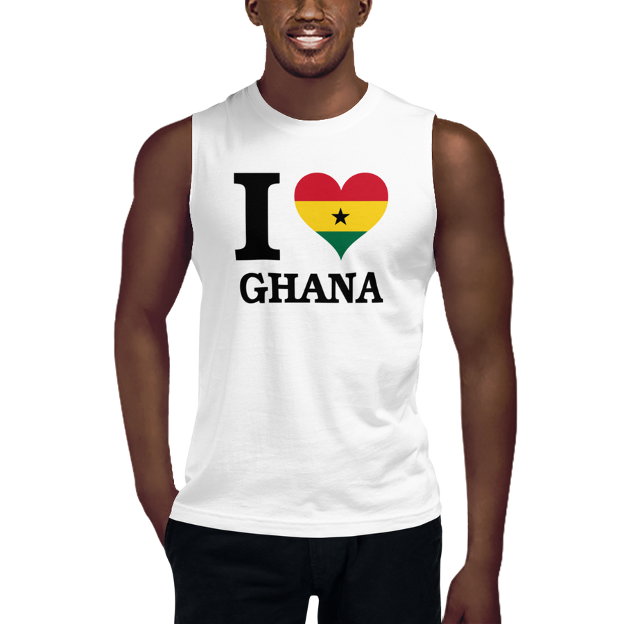 I ❤ GHANA (BLACK) — Men's Muscle Shirt
