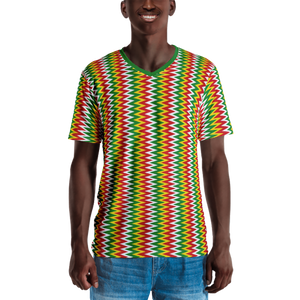 ASANTE KENTE 'ZIG-ZAG' (RASTA/WHITE) — Hand-sewn Men's V-Neck T-shirt