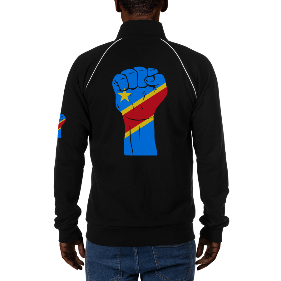RAISED FIST 'DRC' — Men's Piped Fleece Jacket