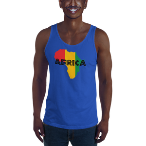 This blue premium quality Tank Top from Natty Wear is made of 100% ringspun cotton. The front print portrays a map of Africa in the Rastafarian colors