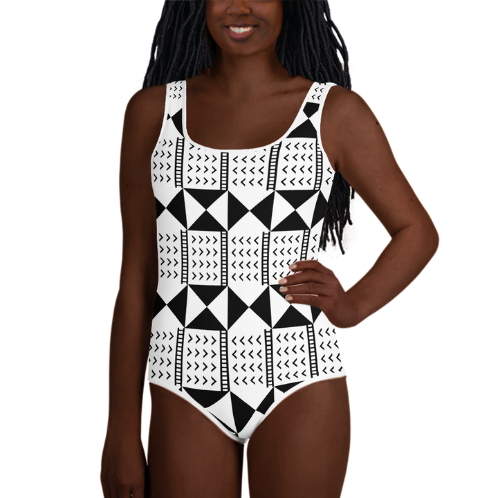 BÒGÒLANFINI 'WÓLONWULA' (WHITE/BLACK) — Hand-sewn Youth Swimsuit