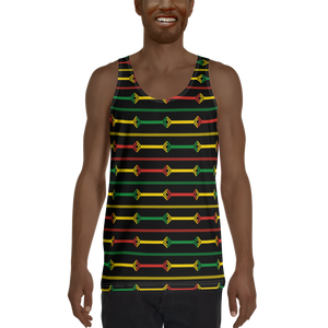 DOGON (BLACK/RASTA) — Hand-sewn Men's Tank Top
