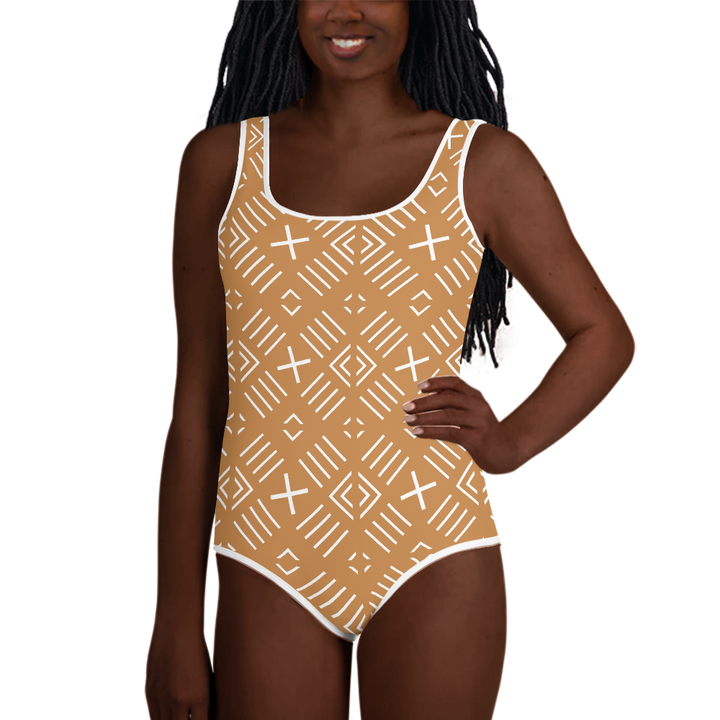 BÒGÒLANFINI 'FILA' (SAND/WHITE) — Hand-sewn Youth Swimsuit
