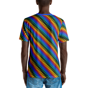 ASANTE KENTE 'ZIG-ZAG' — Hand-sewn Men's V-Neck T-shirt