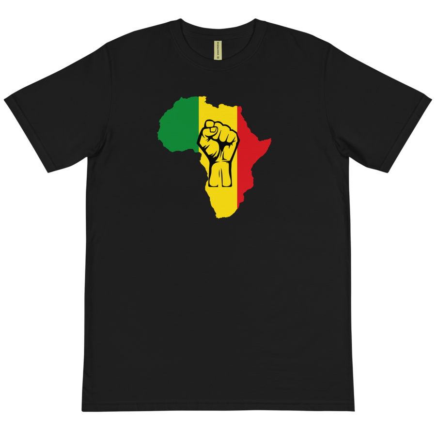 This black T-shirt from Natty Wear is made of 100% organic cotton that's been grown and harvested without any synthetic fertilizers or pesticides. The front print portrays a map of Africa in the Rastafarian colors (red, gold/yellow, green), which are also known as the Pan-African colors, with black color used for the outlines of a raised fist which overlays the image
