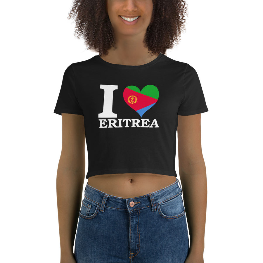 I ❤ ERITREA (WHITE) — Women's Crop Tee