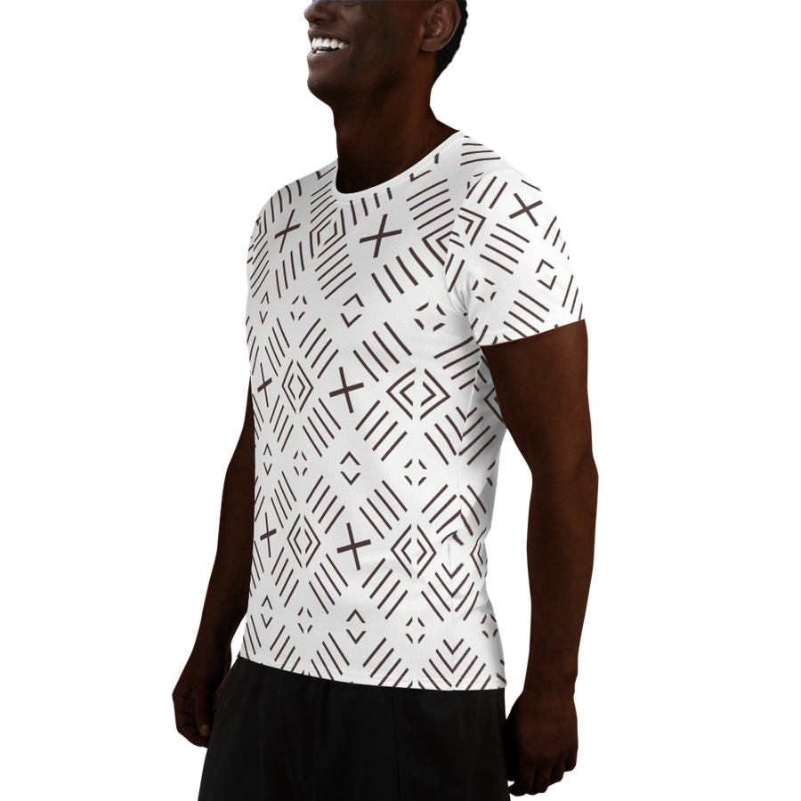 BÒGÒLANFINI 'FILA' (WHITE/COCOA) — Hand-sewn Men's Athletic T-shirt