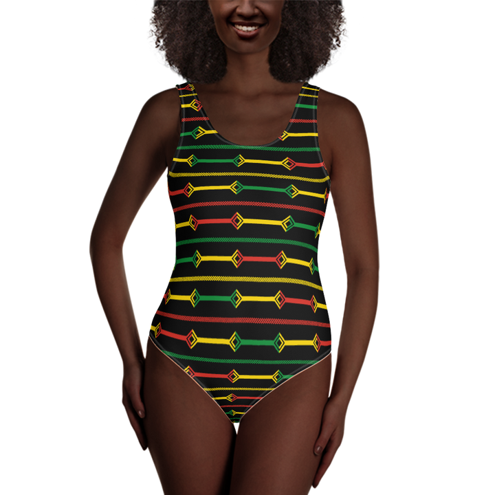 DOGON (BLACK/RASTA) — Hand-sewn One-Piece Swimsuit