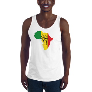 RAISED FIST 'AFRICA' (RASTA/BLACK) — Men's Premium Tank Top