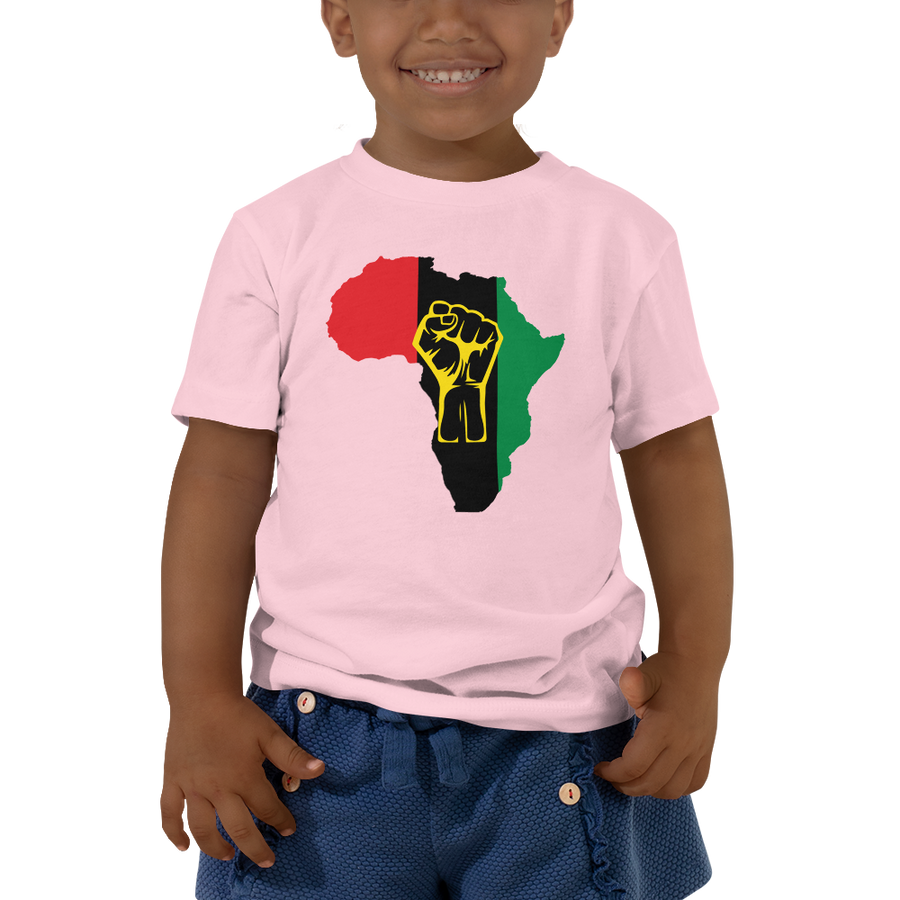 RAISED FIST 'AFRICA' (UNIA/YELLOW) — Short-sleeved Toddler T-shirt