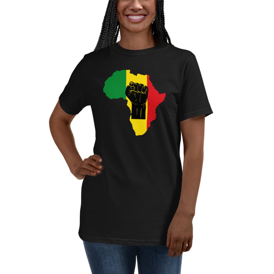 RAISED FIST 'AFRICA' (BLACK/RASTA) — Women's Organic T-shirt
