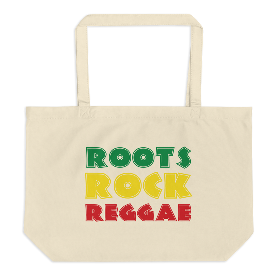This white organic tote bag from Natty Wear is made of 100% certified organic cotton. The front print portrays the text 'ROOTS ROCK REGGAE' written in a stylish font in the Rastafarian colors (red, gold/yellow, green), which are also known as the Pan-African colors