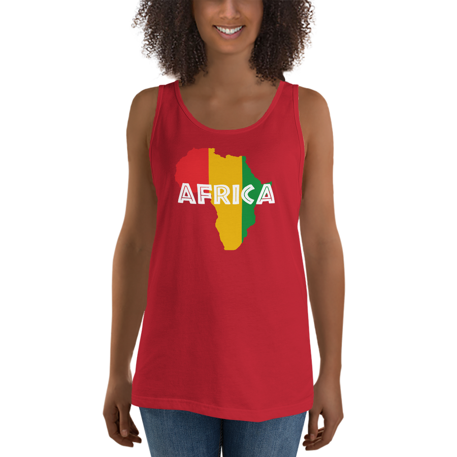 This red premium quality Tank Top from Natty Wear is made of 100% ringspun cotton. The front print portrays a map of Africa in the Rastafarian colors (red, gold/yellow, green), which are also known as the Pan-African colors, with white color used for the text of the word 'Africa' which overlays the image