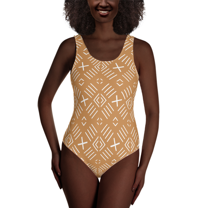 BÒGÒLANFINI 'FILA' (SAND/WHITE) — Hand-sewn One-Piece Swimsuit
