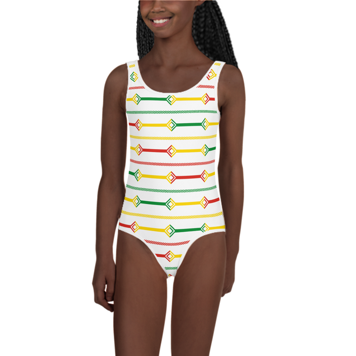 DOGON (WHITE/RASTA) — Hand-sewn Kids' Swimsuit