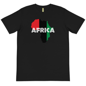 This black T-shirt from Natty Wear is made of 100% organic cotton that's been grown and harvested without any synthetic fertilizers or pesticides. The front print portrays a map of Africa in the UNIA colors (red, black, green), which are also known as the Pan-African colors, with white color used for the text of the word 'Africa' which overlays the image