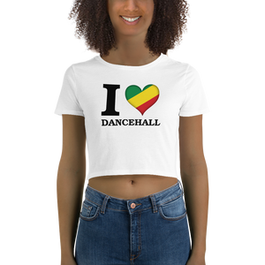 I ❤ DANCEHALL (RASTA/BLACK) — Women's Crop Tee