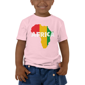 This pink short-sleeved toddler Tee from Natty Wear is made of 100% cotton. The front print portrays a map of Africa in the Rastafarian colors (red, gold/yellow, green), which are also known as the Pan-African colors, with white color used for the text of the word 'Africa' which overlays the image