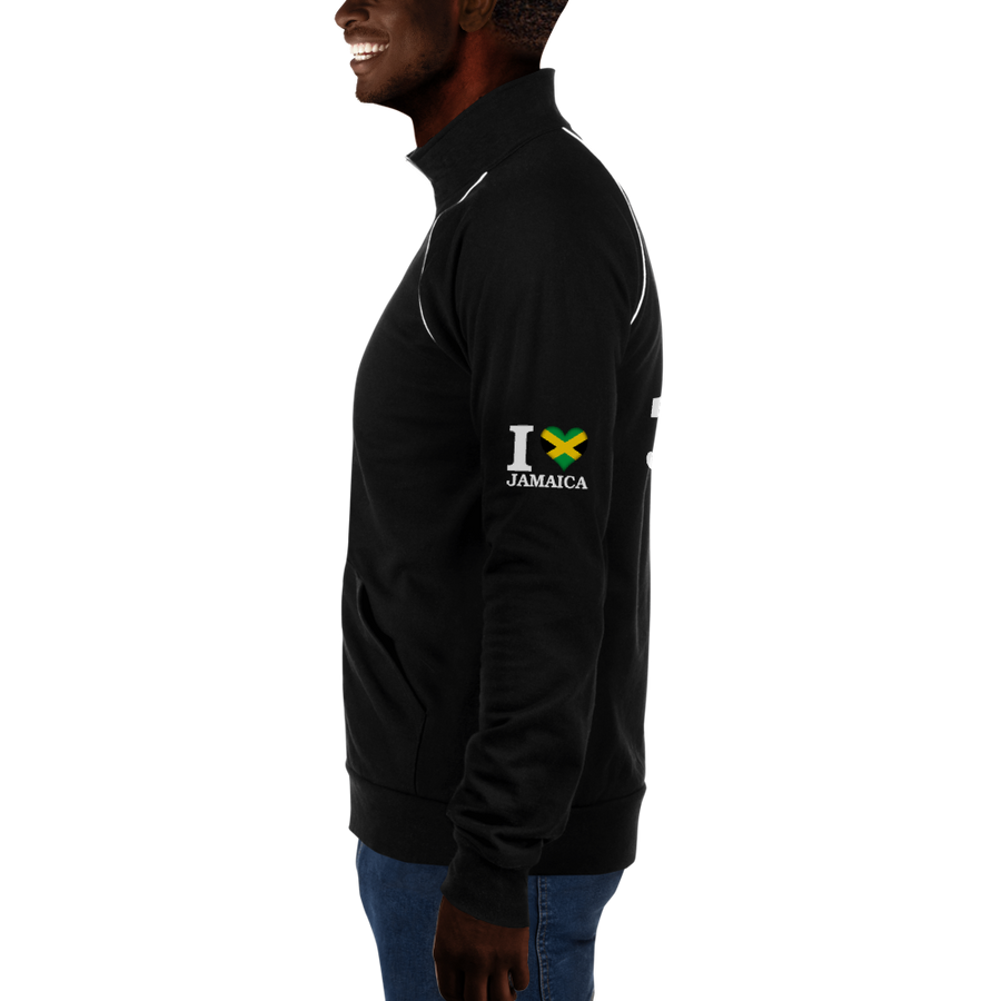 I ❤ JAMAICA (WHITE) — Men's Piped Fleece Jacket