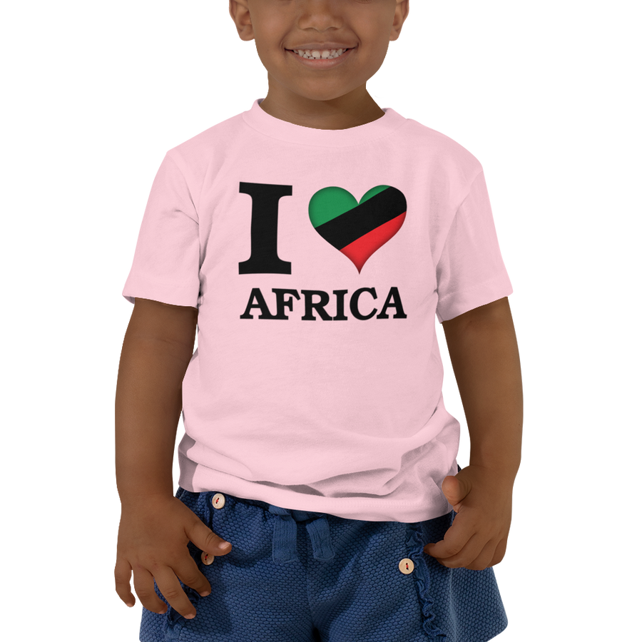 I ❤ AFRICA (UNIA/BLACK) — Short-sleeved Toddler T-shirt