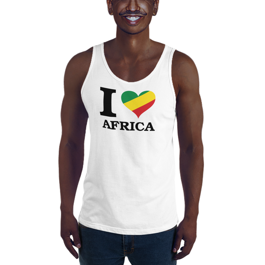 This white premium quality Tank Top from Natty Wear is made of 100% ringspun cotton. The front print portrays the capital letter 'I' in black color, followed by a heart symbol (❤) in the Rastafarian colors (red, gold/yellow, green), which are also known as the Pan-African colors, below is the word 'AFRICA' set in capital letters in black color