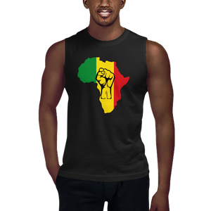 This black sleeveless muscle shirt from Natty Wear is made of 100% combed ringspun cotton. The front print portrays a map of Africa in the Rastafarian colors (red, gold/yellow, green), which are also known as the Pan-African colors, with black color used for the outlines of a raised fist which overlays the image