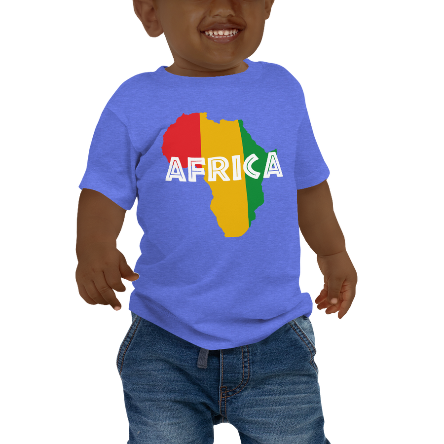 This blue short-sleeved baby T-shirt from Natty Wear is made of 52% cotton and 48% polyester. The front print portrays a map of Africa in the Rastafarian colors (red, gold/yellow, green), which are also known as the Pan-African colors, with white color used for the text of the word 'Africa' which overlays the image