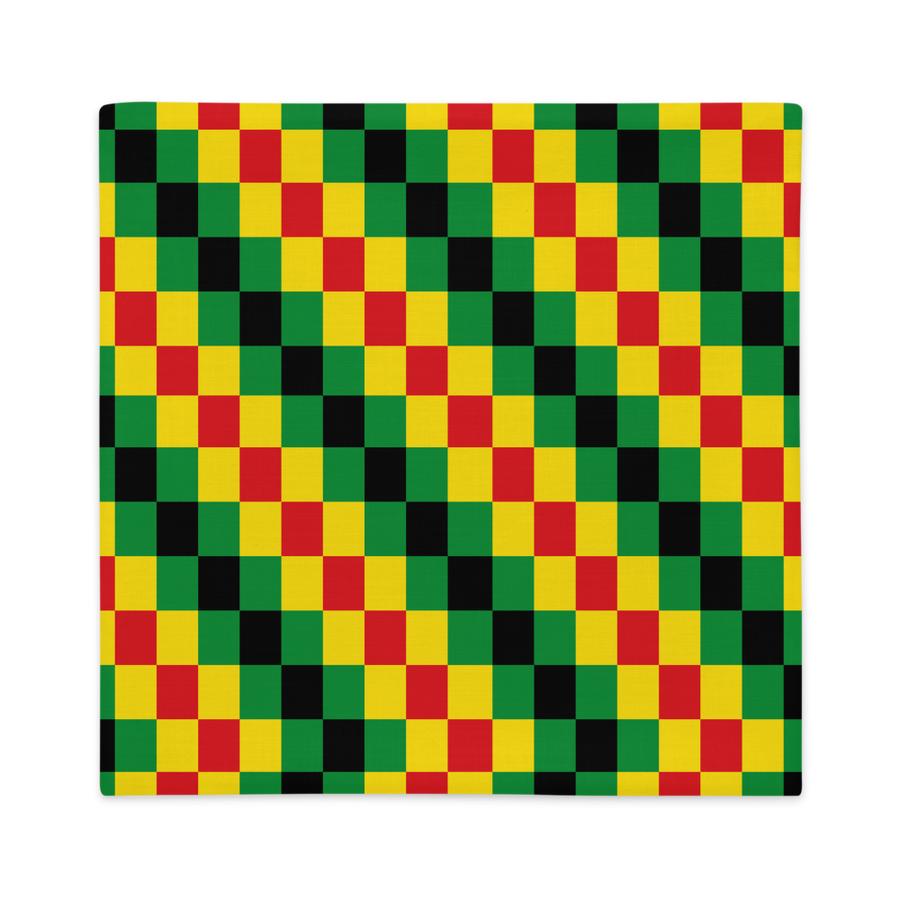 EWE KENTE 'EWO' (RASTA/BLACK)  — Hand-sewn Premium Pillowcase