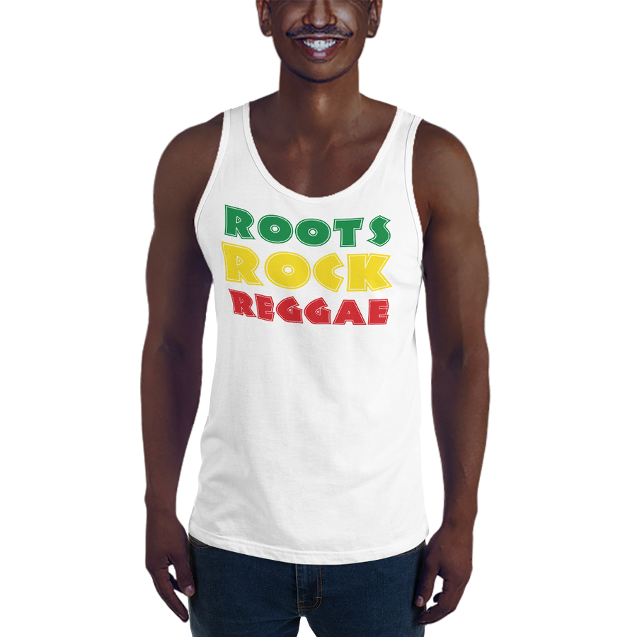This white premium quality Tank Top from Natty Wear is made of 100% ringspun cotton. The front print portrays the text 'ROOTS ROCK REGGAE' written in a stylish font in the Rastafarian colors (red, gold/yellow, green), which are also known as the Pan-African colors
