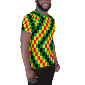 EWE KENTE 'EWO' (RASTA/BLACK) — Hand-sewn Men's Athletic T-shirt