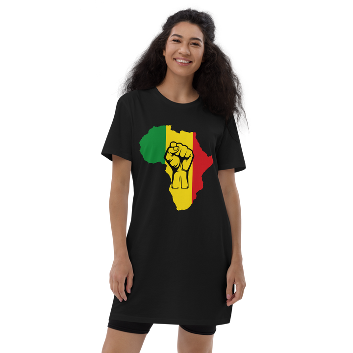 Raised Fist 'Africa' (rasta/black) — Organic T-shirt Dress