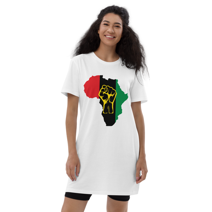 Raised Fist 'Africa' (UNIA/yellow) — Organic T-shirt Dress