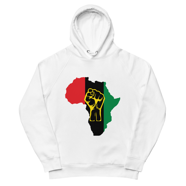 Raised Fist 'Africa' (UNIA/yellow) — Organic Pullover Hoodie