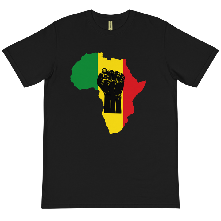 Raised Fist 'Africa' (black/rasta) — Organic T-shirt