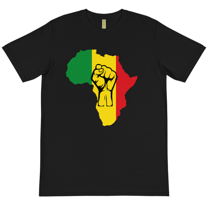 Raised Fist 'Africa' (rasta/black) — Organic T-shirt
