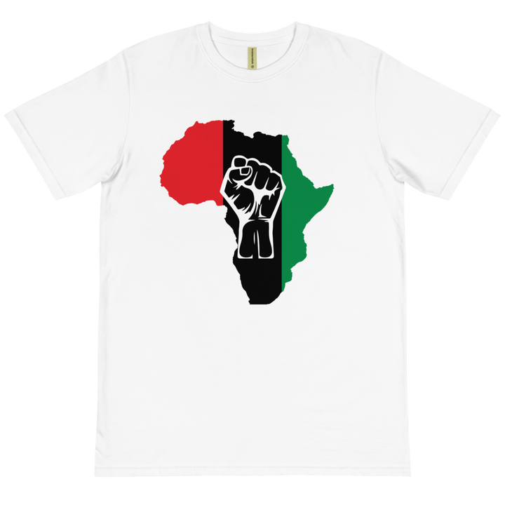 Raised Fist 'Africa' (UNIA/white) — Organic T-shirt